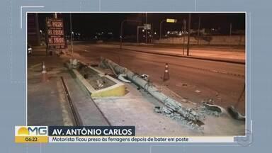 Motoristas derrubam postes em acidentes na Grande BH - Colisões ocorreram na madrugada deste domingo (20) em Contagem e na Avenida Presidente Antonio Carlos, em Belo Horizonte.