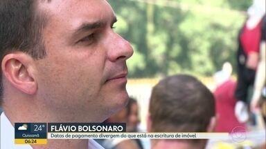 Datas divergem do que está na escritura de imóvel vendido por Flávio Bolsonaro - Uma escritura registra que Flávio Bolsonaro recebeu dois imóveis e R$ 600 mil pela venda de um apartamento. O senador eleito afirmou que recebeu em espécie.