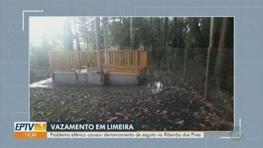 Problema elétrico causa vazamento de esgoto no Ribeirão dos Pires, em Limeira - Vazamento de esgoto na Estação Elevatória Pires, em Limeira (SP) aconteceu nesta segunda-feira (21), moradores que perceberam a situação e acionaram a Guarda Municipal.