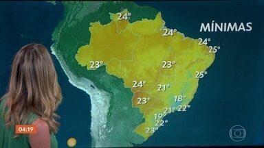 Calor predomina em todo o país nesta quinta-feira (24) - Meteorologia prevê chuva em São Paulo, Rio de Janeiro e Minas Gerais.