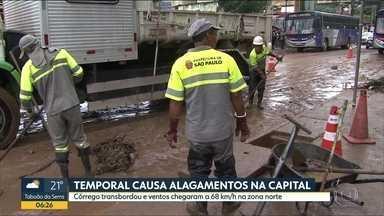 Chuva forte deixa ruas a avenidas da capital alagadas. Vento chegou a 68 km/h - Na estaçao Osasco, da CPTM, água escorria dentro da área de embarque dos passageiros. Veja as imagens