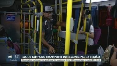 Acompanhe a rotina de quem utiliza a linha mais cara do transporte intermunicipal - Equipe do EPTV1 realizou o trajeto da linha 693, que vai de Artur Nogueira (SP) a Campinas (SP), passando por Holambra (SP) e Jaguariúna (SP). O percurso custa R$ 11,45, um real a mais do que em 2018. Outras linhas da região também aumentaram.