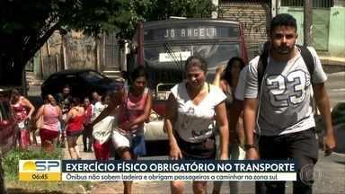 Ônibus sem força para subir ladeira deixa passageiros na mão em SP - Passageiros são obrigados a fazer parte do trajeto a pé na Zona Sul dea capital.