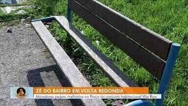 Zé do Bairro confere reclamação de moradores de Volta Redonda - Eles pedem melhorias na Praça do conjunto habitacional Vila Rica.