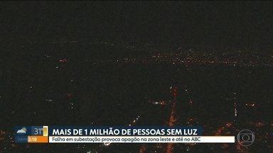 Apagão, na zona leste e em parte do ABC, provoca prejuízo a moradores - Falha foi na quinta-feira, por volta das 20h30, num subestação.