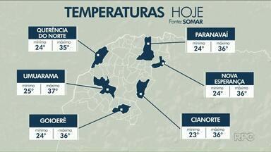 Temperaturas ficam acima dos 35 graus na região noroeste nesta sexta (1) - Ainda deve cair uma chuva fina, por causa da umidade e alta temperatura.