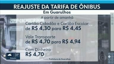 Tarifa de ônibus fica mais cara em Guarulhos - A partir deste sábado (2), o preço da passagem vai de R$ 4,30 para R$ 4,45 para quem usa o Cartão Cidadão e o Cartão Escolar.