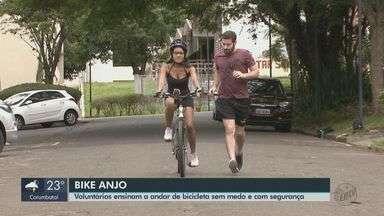 Projeto 'Bike Anjo' ensina a andar de bicicleta sem medo e com segurança em São Carlos - Voluntários dão dicas para pedalar na cidade.