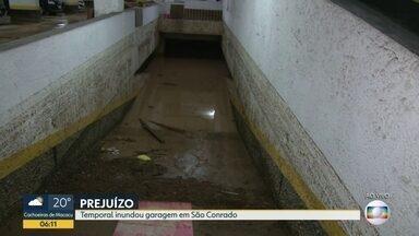 G1 no BDRJ: Temporal inunda garagem de prédio em São Conrado - No interior da garagem estão 15 carros debaixo d'água. Morador relata momentos de desespero durante a chuva.