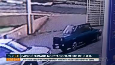 Carro é furtado de dentro de estacionamento de igreja - Câmeras de segurança registraram a ação do criminoso.