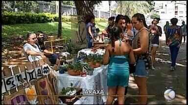 """Edição especial de carnaval da """"Feira Criativa"""" em Araxá reúne 30 expositores - Produtos artesanais, gastronômicos e artísticos são expostos no evento que ainda conta com apresentações musicais"""