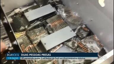 PF apreende quase 3 mil balas de fuzil em churrasqueira elétrica - Duas pessoas foram presas.