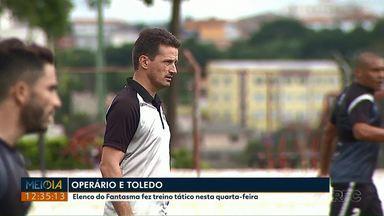 Operário fez treino tático nesta quarta-feira (13) - Para a semifinal contra o Toledo, Gerson Gusmão poderá contar com o atacante Bruno Batata, e o meia Cleyton, que se recuperou de cirurgia no joelho.
