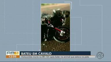 Motociclista morre em acidente após colidir contra cavalo na BR-104, em Caruaru - Animal estava solto na rodovia e também morreu com o impacto da colisão.