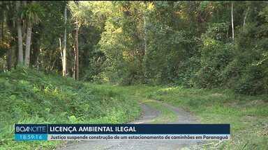 Justiça manda suspender a construção de um estacionamento de caminhão em Paranaguá - Segundo os promotores, funcionários do IAP concederam licenças ambientais ilegais.