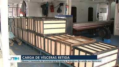 Guarda portuária identifica carga de vísceras sem nota durante fiscalização - Divisa estima de 700kg a uma tonelada. Produto não pode ser comercializado em outro estado.