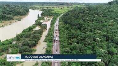 PRF alerta sobre os cuidados nas rodovias na hora de pegar estrada - Com a cheia dos rios Jamari e Madeira dois pontos da BR-364 em Rondônia, ficaram alagados.