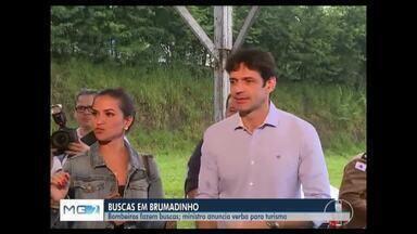 Ministro do Turismo promete 62 milhões para Brumadinho - Verba é para reativar o turismo em Brumadinho. Cerca de 222 homens do Corpo de Bombeiros continua buscas.