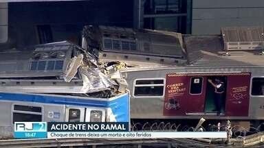 Choque entre trens deixa um morto e oito feridos - Os bombeiros trabalharam durante horas no resgate de um dos maquinista do trem, mas infelizmente Rodrigo Assunção não sobreviveu. A Supervia criou uma comissão para investigar as causas do acidente.