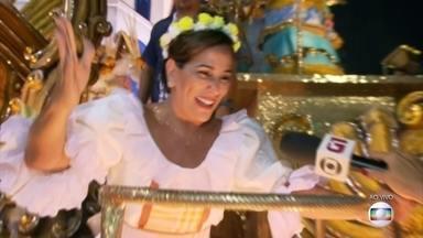 Glória Pires representa mãe de Clara Nunes em carro alegórico da Portela - A atriz entra na avenida como destaque do terceiro carro alegórico da Portela.