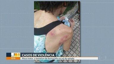 A Polícia Civil investiga dois casos de violência contra mulher, no sul do estado - Em Volta Redonda, uma mulher ficava trancada em casa, enquanto o filho trabalhava. Em Barra Mansa, um marido esfaqueou a companheira.