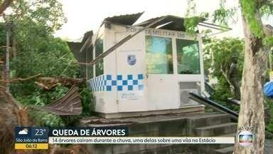 Forte chuva derruba árvore centenária em cima de cabine da Polícia Militar - Com a chuva desta quarta-feira (14) uma árvore caiu em cima de uma cabine da Polícia Militar. Com a tempestade, 14 árvores caíram no Rio, uma delas caiu sobre uma vila no Estácio.