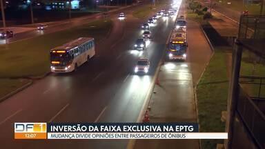 Inversão da faixa exclusiva na EPTG começa na próxima segunda-feira (18) - Mudança divide opiniões de passageiros de ônibus.