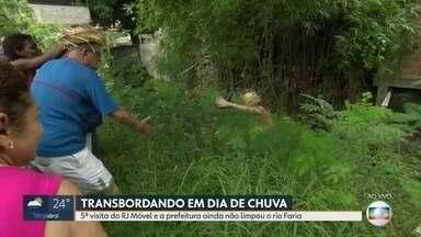 O RJ Móvel foi ao bairro do Encantado, nesse quinta-feira - Os moradores querem a limpeza do rio Faria