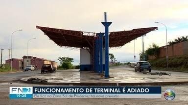 Funcionamento do terminal urbano da zona sul é adiado novamente - Prefeitura alega que tempo instável prejudicou finalização das obras, em Presidente Prudente.