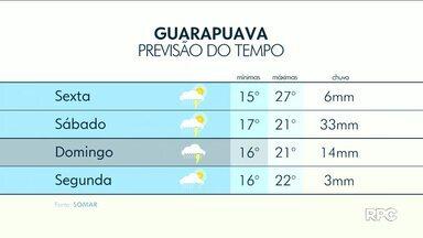 Pancadas de chuvas estão previstas na região de Guarapuava - As temperaturas ficam altas e o sol pode aparecer.