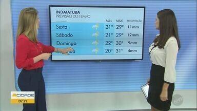 Campinas tem máxima de 29° C nesta sexta-feira (15) - Confira a previsão do tempo para Campinas (SP) e região. Temporal desta quinta-feira (14), em Indaiatuba (SP), deixou Avenida Conceição alagada.