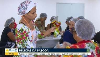 Casa do Trabalhador oferece curso para ajudar quem trabalha com chocolate, em Macapá - Chegada da Páscoa movimenta o comércio dos ovos de chocolate tanto industrializados quanto os caseiros.