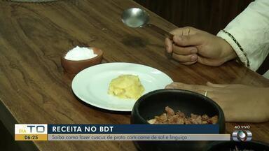 Confira os primeiros passos para fazer um cuscuz de prato com carne de sol e linguiça - Confira os primeiros passos para fazer um cuscuz de prato com carne de sol e linguiça