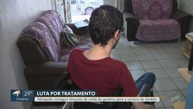 Paciente consegue bloqueio de conta do governo para a compra de remédio - Jovem de morungaba luta contra atrofia muscular espinhal. Medicamento custa R$ 364 mil.