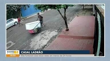 Casal é preso depois de furtar a mesma casa, em Campo Grande, duas vezes em menos de 24h - Câmeras de segurança registraram o casal transportando a geladeira das vítimas.