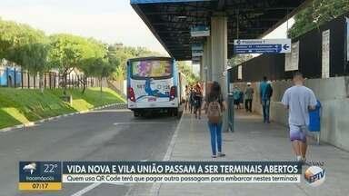Terminais Vila União e Vida Nova iniciam semana com portões abertos - Agora, os passageiros precisam pagar a passagem dentro do ônibus e não mais na catraca que havia na entrada do local.