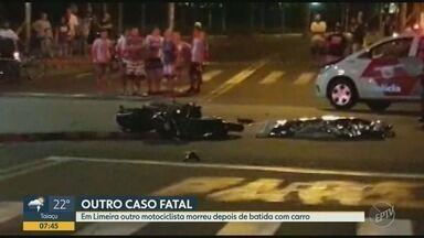 Motociclista morre depois de bater em um carro em Limeira - De acordo com o corpo de bombeiros, um carro e uma moto bateram na Avenida Cônego Manoel Alves, no Bairro Monte Azul em Limeira (SP). O Motociclista morreu no local.