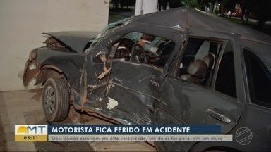 Motoristas em alta velocidade sofrem acidente em Várzea Grande. - Motoristas em alta velocidade sofrem acidente em Várzea Grande.