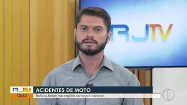 Três acidentes de moto são registrados na Região Serrana e no Noroeste Fluminense - Assista a seguir.