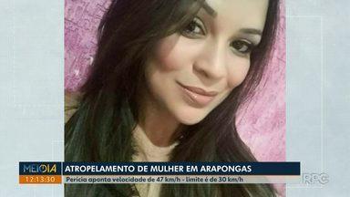 Perícia aponta que motorista do atropelamento em Arapongas estava acima da velocidade - A velocidade máxima da via é de 30 km/h, a perícia apontou que o motorista estava pelo menos a 47 km/h. Rodrigo Batistoni atropelou e matou Vanessa do Prado em Arapongas.
