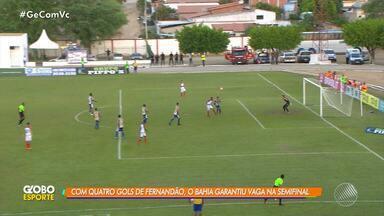 Fernandão marca quatro gols a frente do Bahia e time garante vaga na semifinal do Baianão - Veja os destaques da partida.