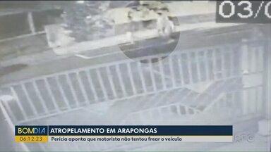Perícia aponta que motorista que atropelou mulher Arapongas não tentou frear veículo - Laudo apontou excesso de velocidade e ausência de tentativa de frenagem.