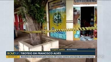 Bandidos atiram contra loja de conveniência em Francisco Alves - Eles dispararam pelo menos 20 vezes.