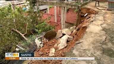 Parte de muro cai no bairro São Silvano, em Colatina, ES - Caso aconteceu na noite desta quarta-feira, 20 de março.