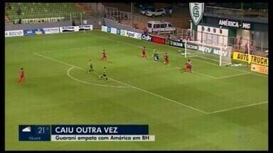 Guarani-MG empate com América, mas vitória da URT rebaixa o Bugre - Time de Divinópolis ainda buscou o empate no Independência em 2 a 2, com um jogador a menos