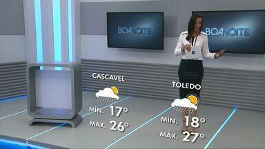 Previsão de pancadas de chuva para a tarde desta sexta-feira - Em Cascavel a temperatura deve variar entre 17 e 26 graus.