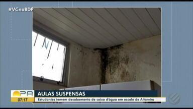 Em Altamira, bombeiros interditam escola por risco de desabamento - Estrutura estaria afetada e alunos sem aula protestam.