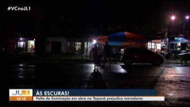 Moradores do bairro do Tapanã reclamam de problemas causado por obra - Os problemas vão desde as condições do trânsito até a segurança no local.