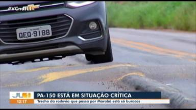 Em Marabá, motoristas reclamam das péssimas condições da PA-150 - O trecho não tem fiscalização.