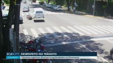 Câmeras de Paranavaí flagram desrespeito e acidentes no trânsito - Por toda a cidade, não é difícil achar maus exemplos de desrespeito e perigo no trânsito.